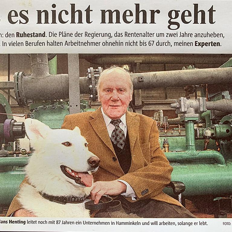 Zeitungsbericht Hans Henting Gründer WAT Wärme-Austausch-Technik GmbH