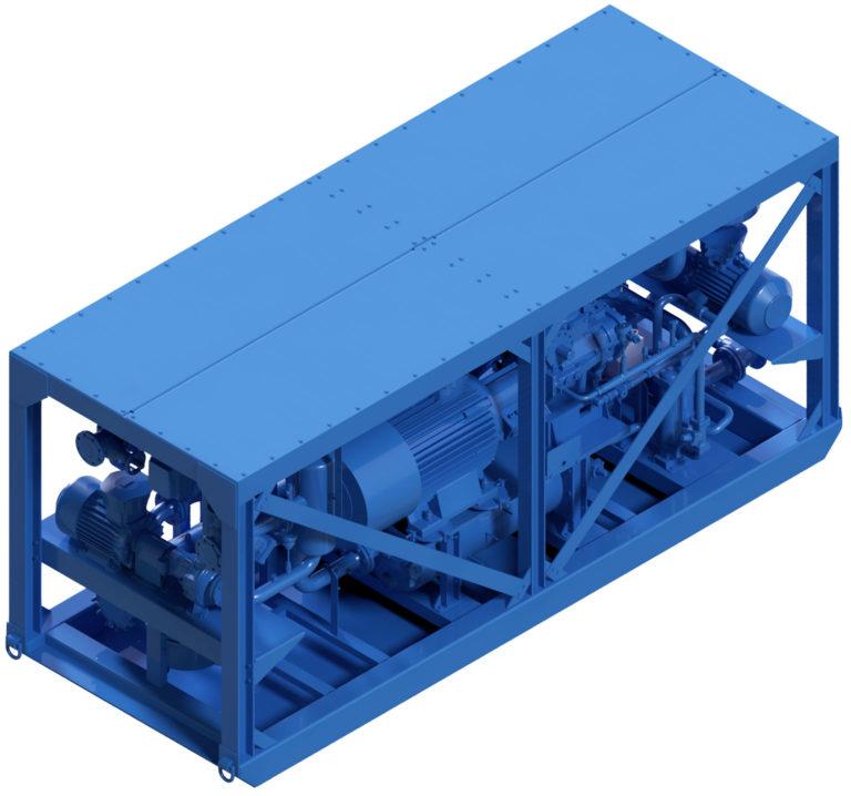 3D Darstellung Kompakt Kaltwassermaschine KPM250 ATEX für Kühlung im Bergbau und Tunnelbau