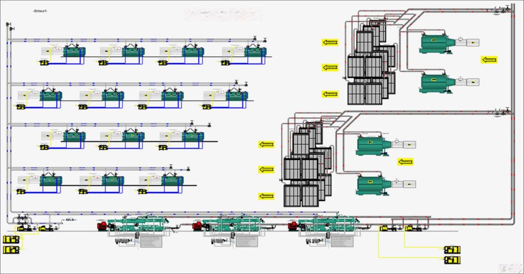Schematische Darstellung eines Kühlsystems im Bergbau oder Tunnelbau